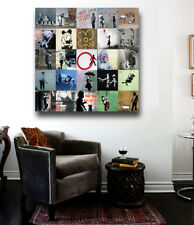 Banksy Street Art Collage - Collection of works on  24 x 24 Canvas Print
