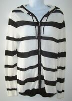 Zenergy Chicos Hooded Zip Front Sweater Size 1 Black & White Striped Hoodie