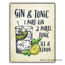 GIN AND TONIC RECIPE cocktail METAL WALL PLAQUE Sign humorous kitchen bar cafe