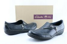 Clarks Ashland Lane Q Women's US 12 N Navy Leather Slip On Casual Loafers D089