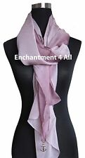 New Shaded 100% Pure Silk Oblong Scarf Shawl, Shaded Rose Brown/Pink