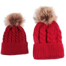 2pcs Winter Mom And Daughter Matching Knitted Beanie Cap