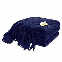 "60"" x 50"" Knitted Throw Blanket for Sofa Couch Decorative Fringe Gift Navy Blue"