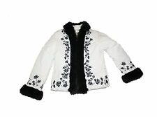 Women White House Black Market Embroidered Faux Fur Down Coat Size M