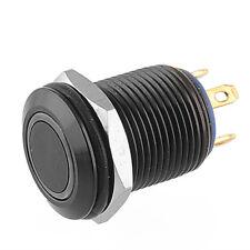 Black 12mm  2A/36V Blue LED Lighted Ring Illuminated Push Button Switch Flat DIY