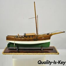 Antique Large Oak Wood Model Sailboat Ship Boat on Base Stand