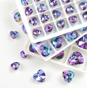 Love heart facing glass crystal bead Pendant Rainbow Rhinestone Christmas gifts