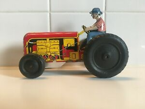 """Vintage Courtland Walt Reach Tin Wind Up Toy Tractor 6"""" 1/2 Long"""