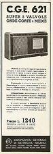 Y0091 Radio C.G.E. super 5 valvole - Pubblicità 1938 - Advertising