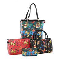 PASSAGE 5pc Faux Leather Tote Barrel Bag Clutch Bag Wallet Trifold Key Holder