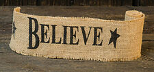 "Believe Printed Burlap Ribbon Rough Edges - 4"""" x 72"" - Tan - Christmas Santa"