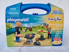 Playmobil City Life Family Fun 5649 Backyard Barbeque Carry Case, New