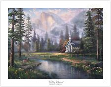 Thomas Kinkade Valley Chapel Yosemite 25.5  x 34 S/N Limited Edition Paper