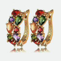 Fashion Women Lady Colorful Crystal Rhinestone Hoop Huggies Ear Stud Earrings