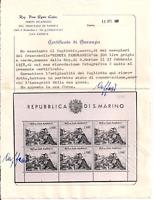 1958 SAN MARINO FOGLIETTO VEDUTA L.500 SASS N°18 G.I. MNH** CERT. CAFFAZ LUSSO