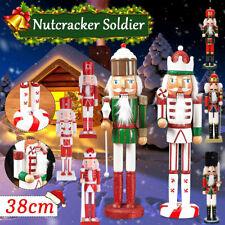 38CM Artisanat Noyer Marionnette en bois Casse-Noisette Soldat Cadeau de Noel