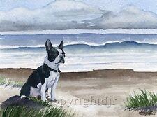 BOSTON TERRIER On The BEACH Dog Painting ART Print by Artist DJR