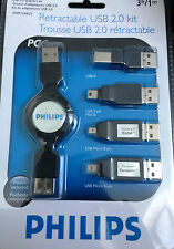 Philips SWR1249/27 USB 2.0 Retractable Adapters Kit for Smart Phones or Cameras