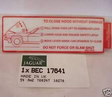 JAGUAR XJS 92 93 UNDER HOOD CLOSING LABEL BEC17641