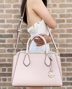Michael Kors Daria Large Satchel Bag Leather Powder Blush Pink Vanilla MK