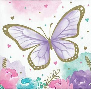 8 x Pretty Butterfly Shimmer Party Paper Beverage Canape Napkins Pastel & Gold