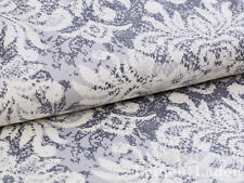 0,5,M Cotton Satin Fabric Vintage with Baroque Pointed Pattern, Gray