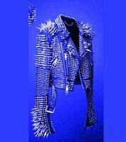 New Men's Full BluePunk Silver Long Spiked Studded Brando Cowhide Leather Jacket