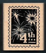 4Th July Fireworks America Honor Veteran Postage Post words Ctmh Rubber Stamp