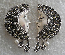 DESIGNER A Cast STERLING MARCASITES PEARLS Ladys FACES Post EARRINGS Estate