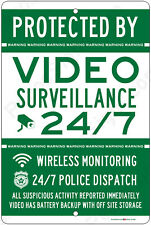 Protected By Video Surveillance CCTV Warning Security Camera Aluminum Sign GR/WH