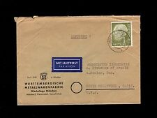 Germany Air Mail Metallwarenfabrik Munich 1958 ? Cover to USA  5p
