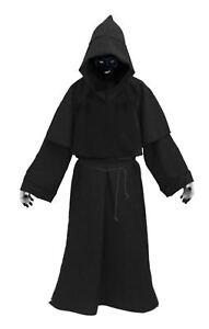 Adults Black Death Robes & Facepaint Scary Halloween Fancy Dress Costume