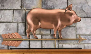 Good Directions Rooftop Country Pig Hog Mantel Tabletop Weathervane Sculpture