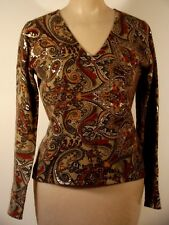 Neiman Marcus cashmere collection V neck print sweater, S, beige/rust/gray