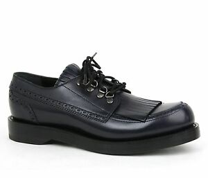 $990 New Gucci Men's Leather Fringed Brogue Lace-Up Shoes Dark Blue 358271 4009