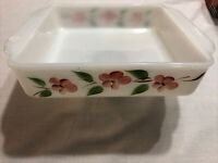 ANCHOR HOCKING FIRE KING GAY FAD PEACH BLOSSOM SQUARE CAKE PAN - #452 - USA