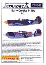 Xtra Decals 1/48 EARLY CURTISS P-40 WARHAWK Fighters Part 2