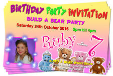 BIRTHDAY PARTY INVITATIONS Build a Bear Pink Personalised + Pic
