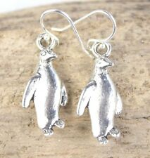 925 sterling silver earrings charm Penguin pendant pewter 1 pair Ocean Sea