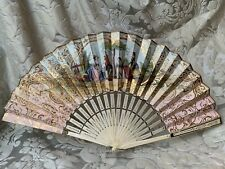 Superb Antique French Fan/Bone & Paper Double Sided 19th Fan/ Eventail Ancien/