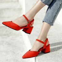 Womens Pointed Toe Ankle Strap Cut Out Sling back Shoes Sandals Pumps Faux Suede
