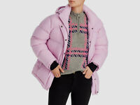 New $348 Aqua Women's Pink Hooded Puffer Quilted Jacket Winter Coat Size XS