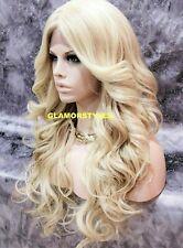 HUMAN HAIR BLEND LACE FRONT FULL WIG LONG WAVY BLEACH / CARAMEL BLONDE MIX NWT
