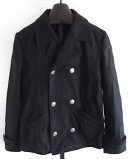 NWT True Religion Black Wool Blend Double Breasted Peacoat Mens Size Small