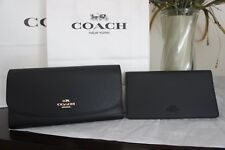 NWT Coach F56488 F16613 Black Pebbled Leather Checkbook Wallet  $250