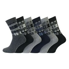 Men's Soft Wool Insulated Winter Hiking Boot Socks 6-11 Uk, 39-45 Eur Snowflake