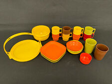 Vintage Lot Of 21 Tupperware Toys Picnic Plates Bowls Cups Mugs Cake Accessories
