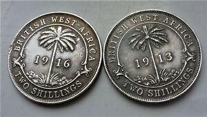 2 x GEORGE V STERLING SILVER BRITISH WEST AFRICA 2 SHILLING COINS 1913 &1916