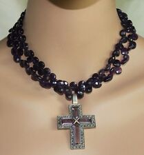 Vintage Sterling Silver Purple Amethyst Marcasite Cross Faceted Bead Necklace