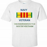 USS INDEPENDENCE CV-62 *SOUTH VIETNAM* VIETNAM VETERAN RIBBON 1959-1975 SHIRT